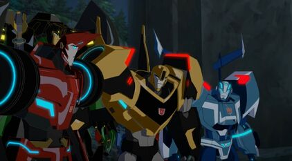 Bumblebee with Blurr, Grimlock, and Sideswipe