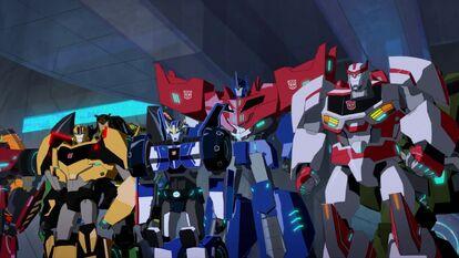 Bumblebee, Strongarm, Grimlock, Optimus and Ratchet