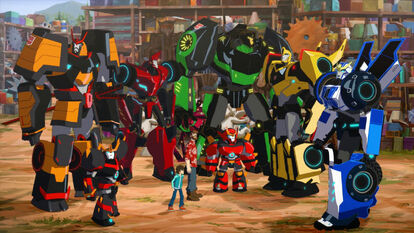 Autobots, Russell, and Denny hear Fixit's voice.