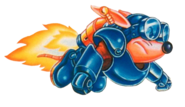 Sparkster (Rocket Knight Adventures Sparkster Flying U.S Artwork)