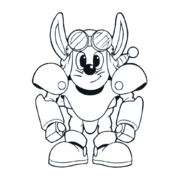 Sparkster (Rocket Knight Adventures Sparkster Front Europe Manual Line Artwork 3)