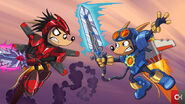 Sparkster vs. Axle Gear (Rocket Knight 2010 Official Artwork)