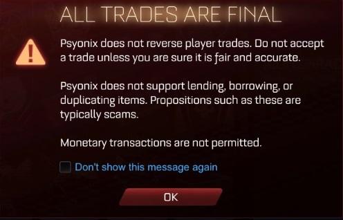 Trade warning