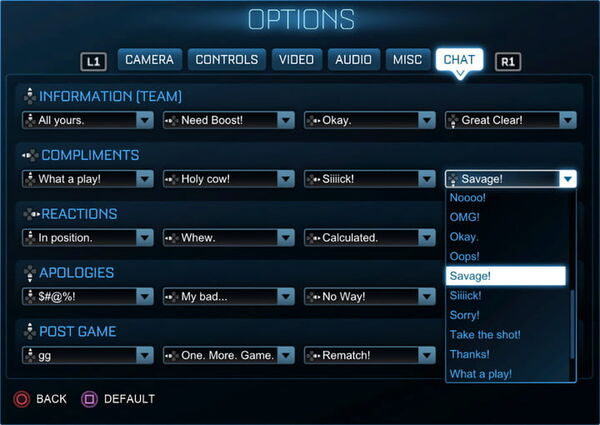 Quick Chat options preview