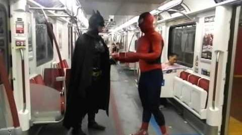 HiMY SYeD -- Spider-Man vs. Toronto-Batman, TTC Subway Train Toronto Canada Monday Night July 2 2012