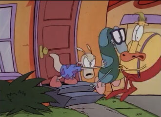 Rocko pushes Filburt and Heffer away