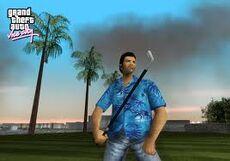 Tommy with golfclub