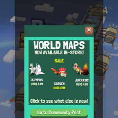 The notification for when Space Zoo zones became available for purchase