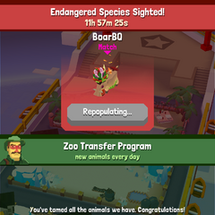 The notice when the player has matched the endangered animal and it is breeding.
