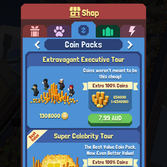 The coin pack menu in the Shop