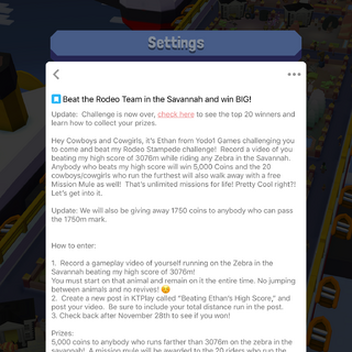 The notice for the Zebra Challenge on KTplay