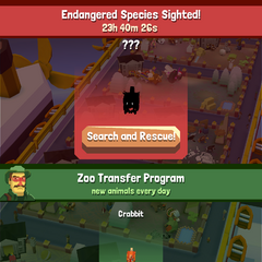 The notice presented to the player when a new endangered animal is discovered for the first time.