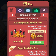The special offers menu in the Shop