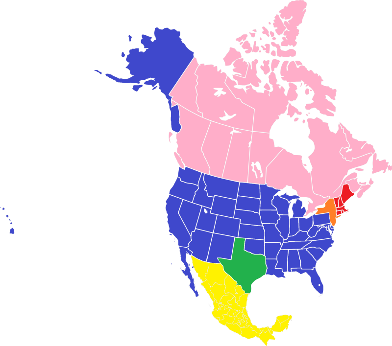 North america blank range map 2