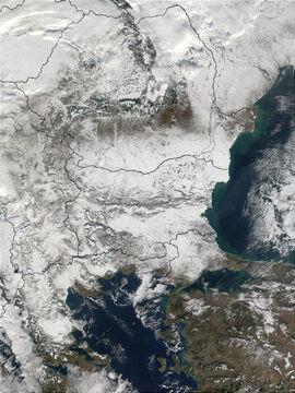 Sneeuw in de Balkan