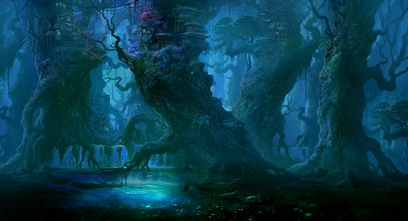 Blue-fantasy-dark-forest-wallpapers-t