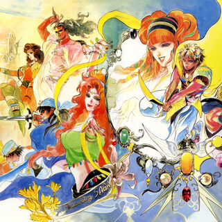 Official art of all 8 main characters of Romancing SaGa.
