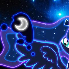 Princess Luna is my favorite pony princess ever and this neon lights image of her is just something else wow!
