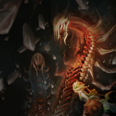 Artwork of Urpina battling an enemy.