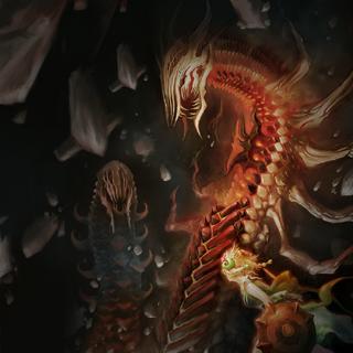 Artwork of Mondo fighting an enemy alongside Urpina