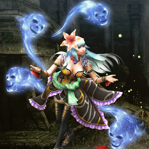 Rocbouquet posing like her original SNES sprite for the Monster Hunter Frontier Z x Imperial SaGa collaboration event