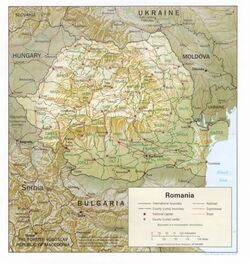 Romania-counties and shaded relief