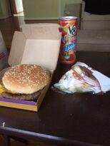 The quarter pounder with cheese with Apple slices and v8 fusion