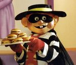 Hamburglar & tray of Cheeseburgers