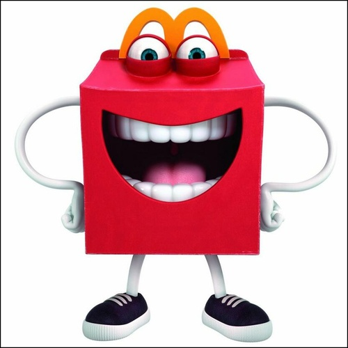 happy is a new mascot for mcdonalds he is an anthropomorphic happy meal box who is wacky jovial and very energetic a lot of fans are scared of him