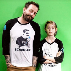 Millie and Geoff in a Schooled promotional picture