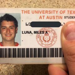 Miles' University of Texas at Austin Student ID