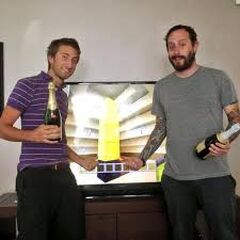 Gavin and Geoff showing off the Tower of Pimps in Minecraft