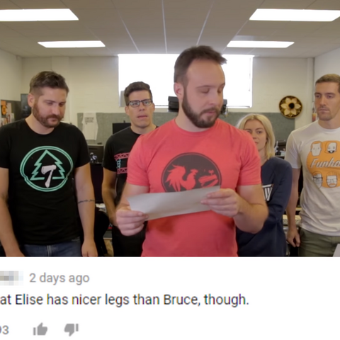 Bruce reading a comment