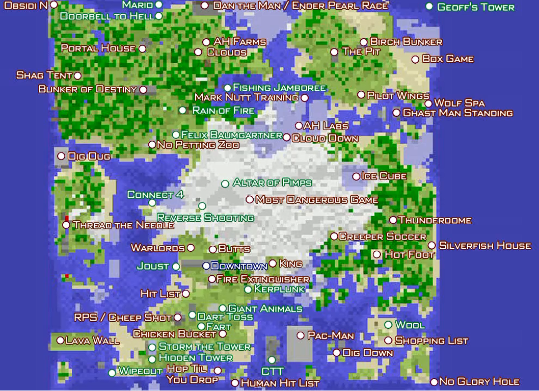 Achievement City Map Let's Play Minecraft/Landmarks and Structures of Achievement City