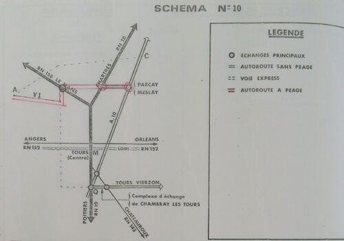 A85 1976 raccordement Tours schéma 10