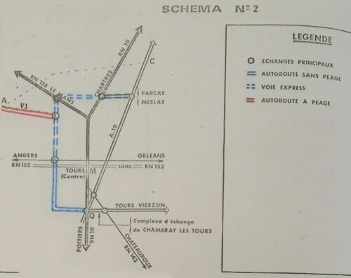 A85 1976 raccordement Tours schéma 2