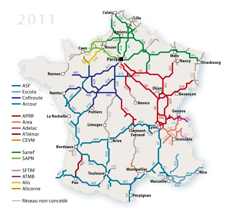 carte des autoroute de france Liste des autoroutes françaises en service | WikiSara | Fandom