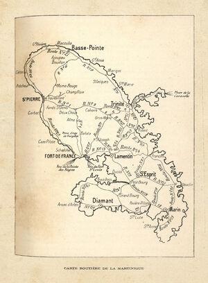 Carte routes coloniales MQ