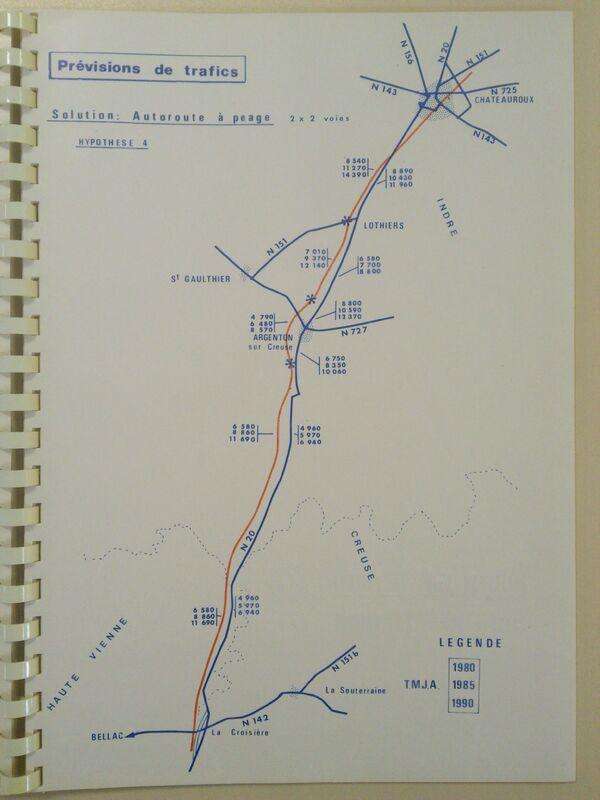 A20 1973 Chateauroux Limoges autoroute à péage trafic