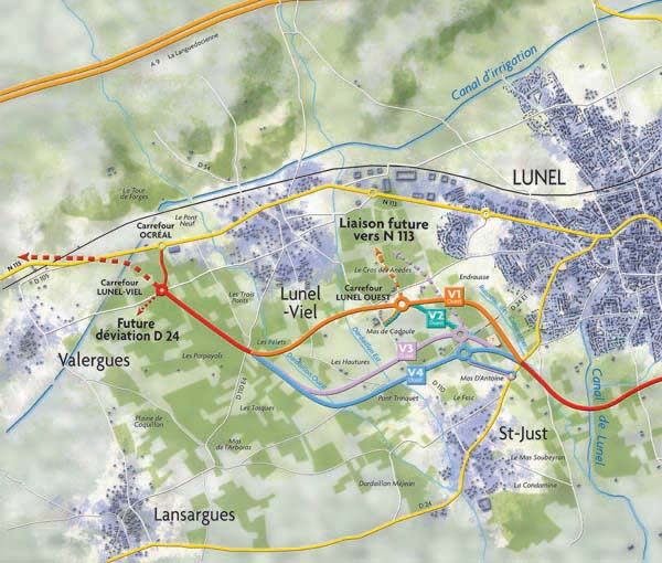 RN113 - Déviation de Lunel - Variantes Ouest