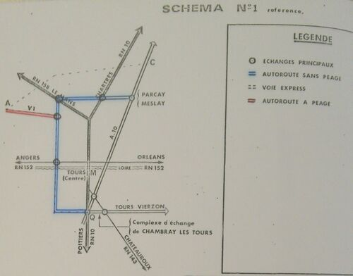 A85 1976 raccordement Tours schéma 1