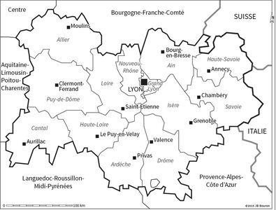 Carte Région Auvergne Rhône-Alpes