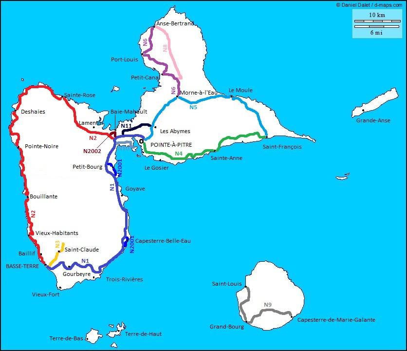 Liste des routes nationales de la Guadeloupe | WikiSara | FANDOM