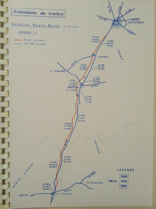 A20 1973 Chateauroux Limoges route neuve trafic