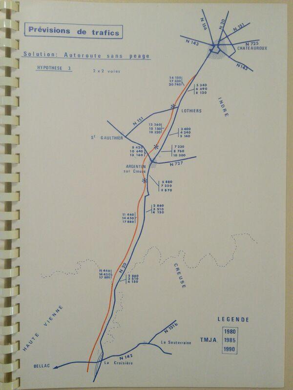 A20 1973 Chateauroux Limoges autoroute gratuite trafic