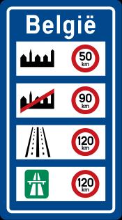 Limitations de vitesse en Belgique