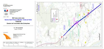 RN7 Saint Pierre le Moutier - limite Allier section 1 plan de synoptique