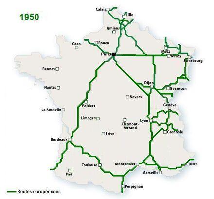 WS France Routes européennes 1950