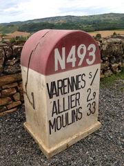 RN493 - Borne kilométrique recto
