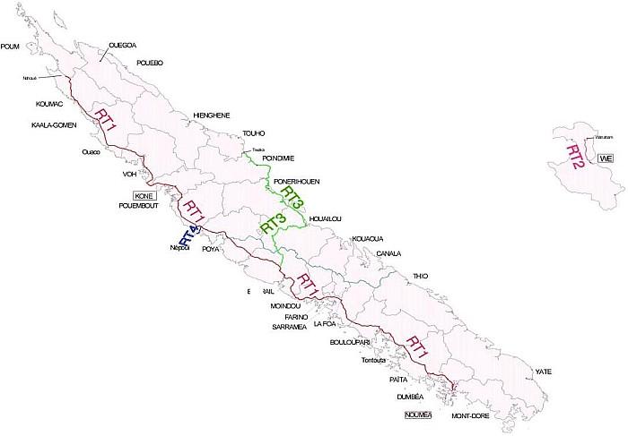 Routes territoriales Nouvelle-Calédonie
